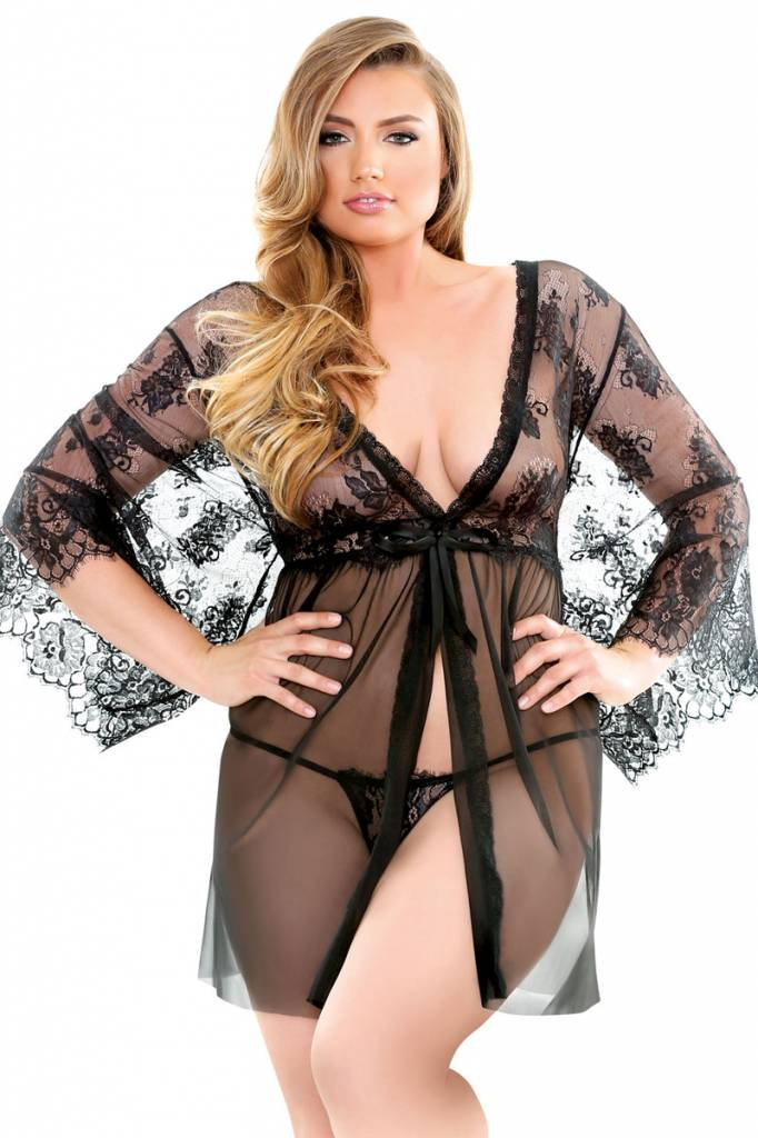 L Web Fantasy Boxed Courtney Lace Robe & G-String - Curve