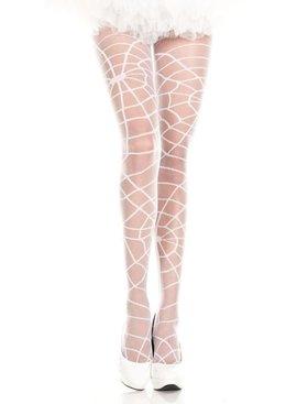 Music Legs White Spider Web Stockings