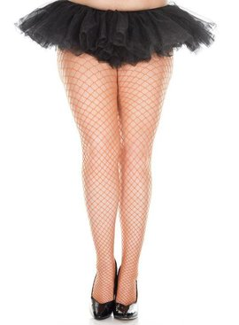 Music Legs Orange Fishnet Stockings - Plus Size