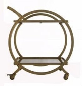 Everyday This bar cart is made of a brass frame and spotted mirrored glass.