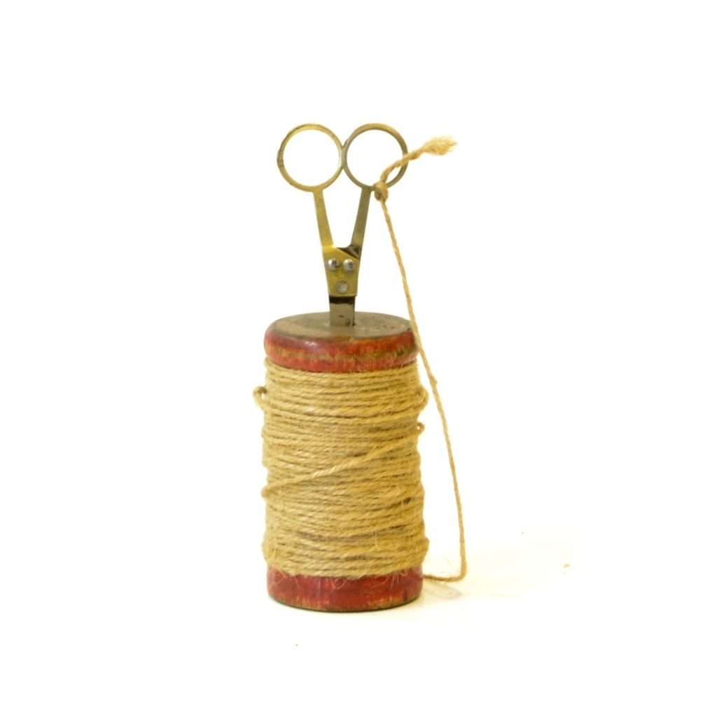 Everyday Wood Spool with Twine and Scissors