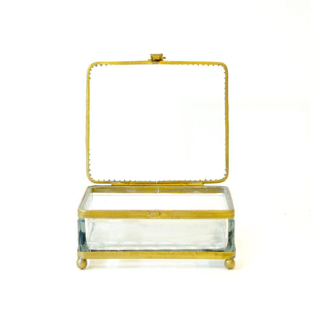 Everyday Antique square filigree glass box.