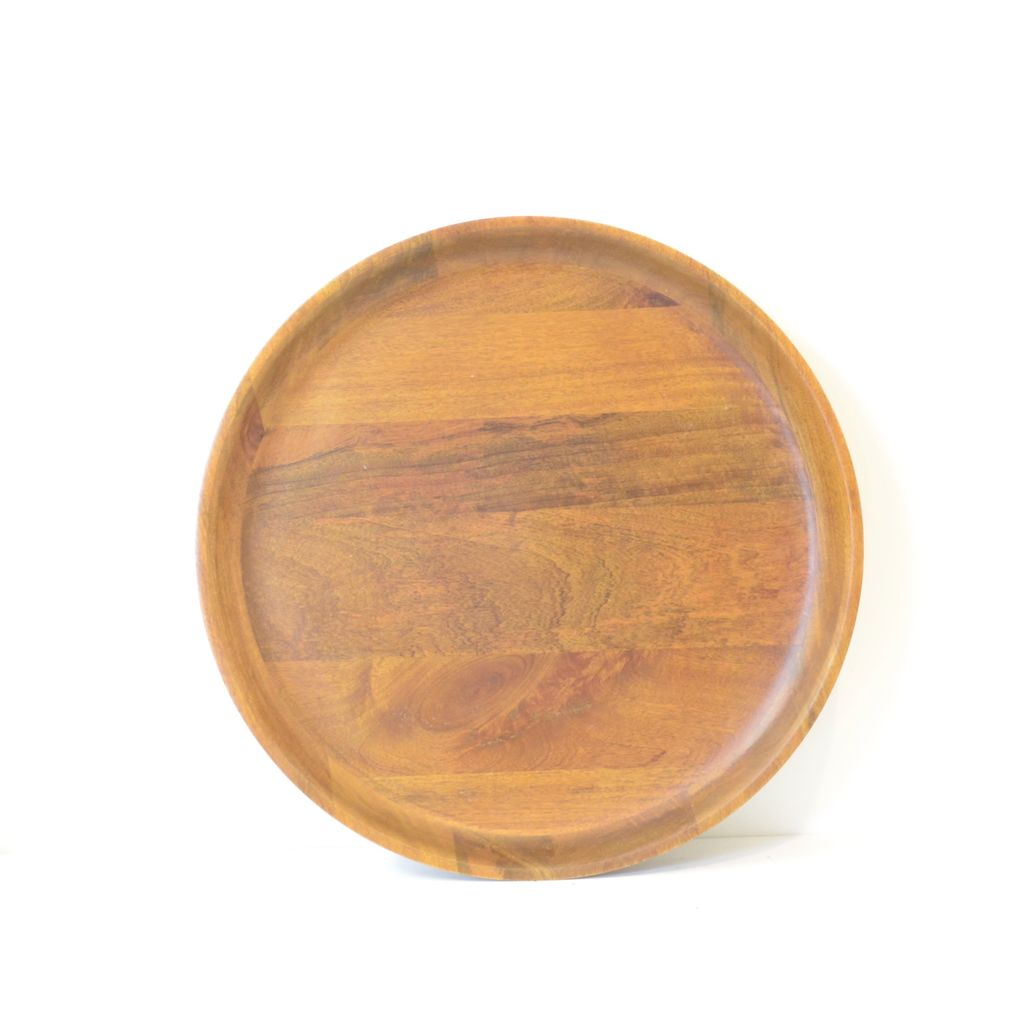 Everyday Smooth, shallow-rimmed Mango Wood serving tray finished in warm walnut.