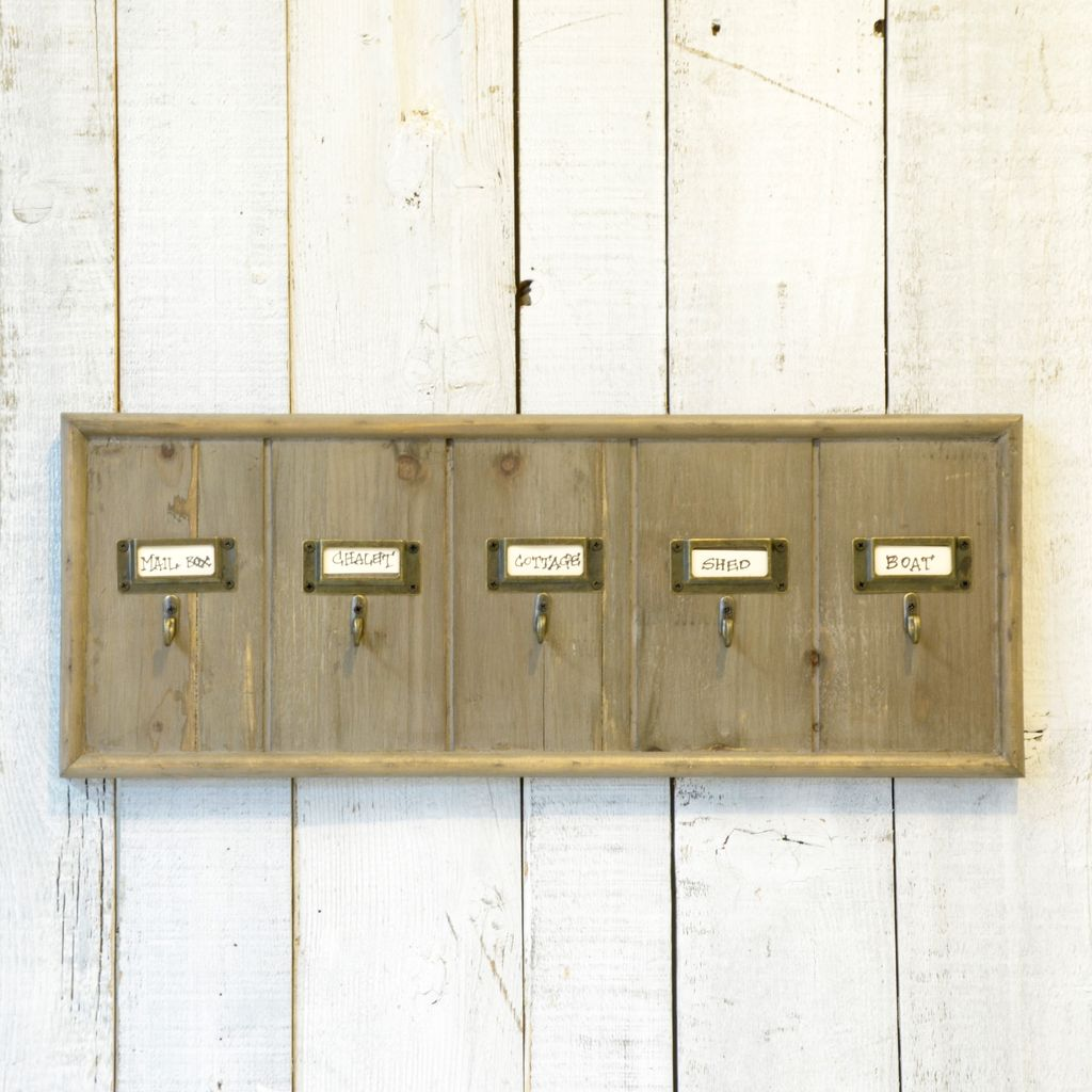 Everyday Wooden Hotel Key Rack with 5 hooks.