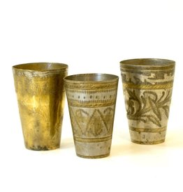 Everyday Brass decorative cups, that are made from copper with hand embedded designs. Sold individually.