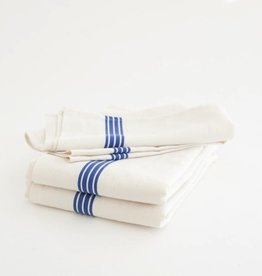 Everyday White with blue stripe linen tea towel.