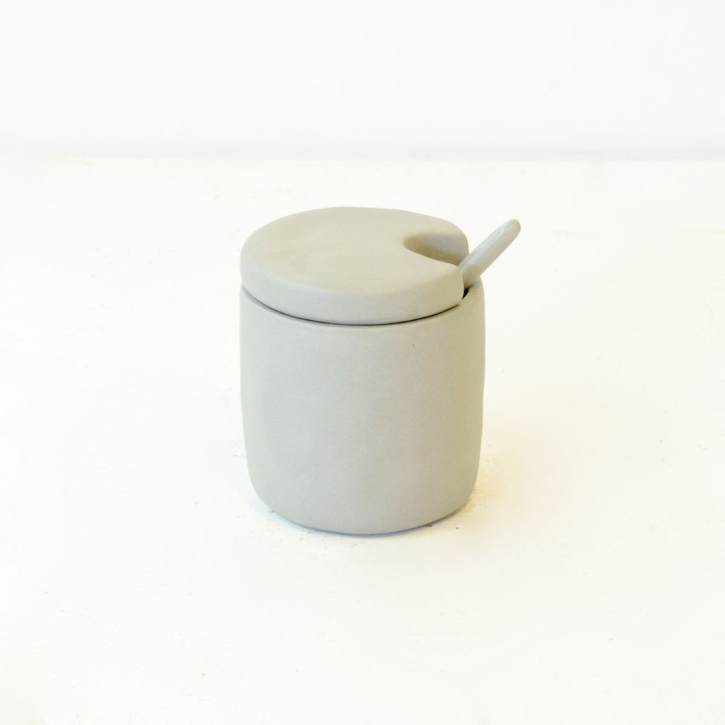 Everyday Small stoneware cellar & spoon with lid.