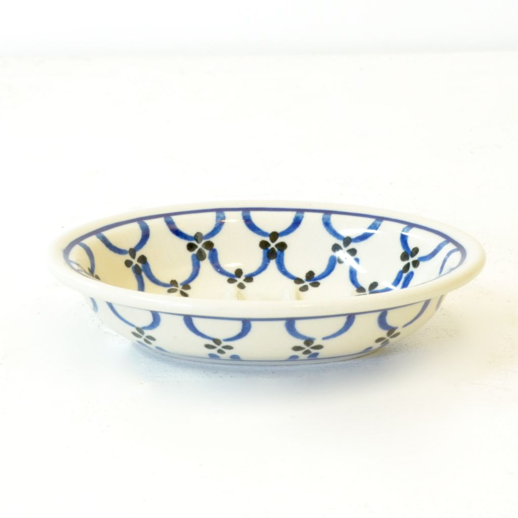 Everyday Ceramic white & blue patterned soap dish.