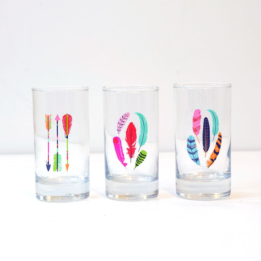 Everyday Juice glass with decorative arrow & feather coloured print.