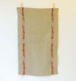 "Everyday Linen Tea Towel with ""Rouge 41"" borders"