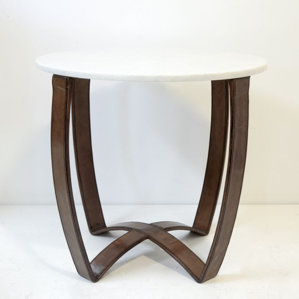 Everyday Cavalier Strap Side table with Marble Top.