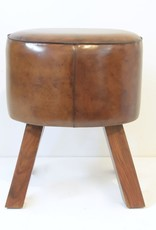 Everyday Leather Cavalier Pummel Stool with Leather Base.