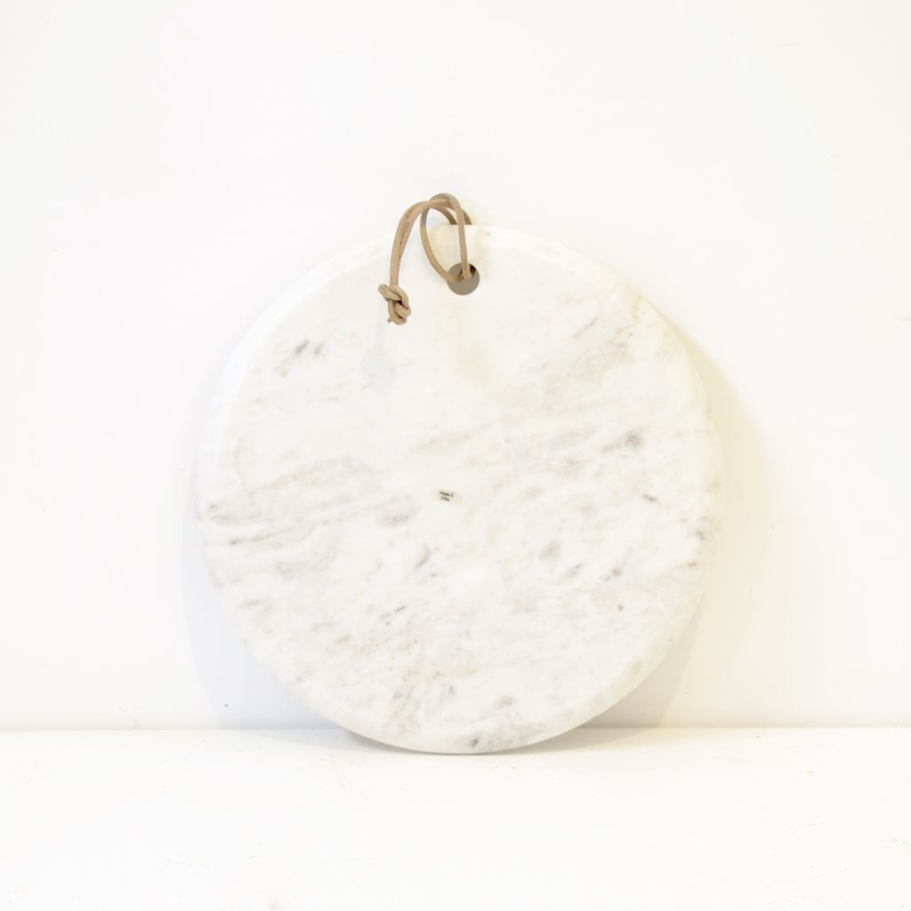 Everyday Blanca Marble Board with Leather tie, Large