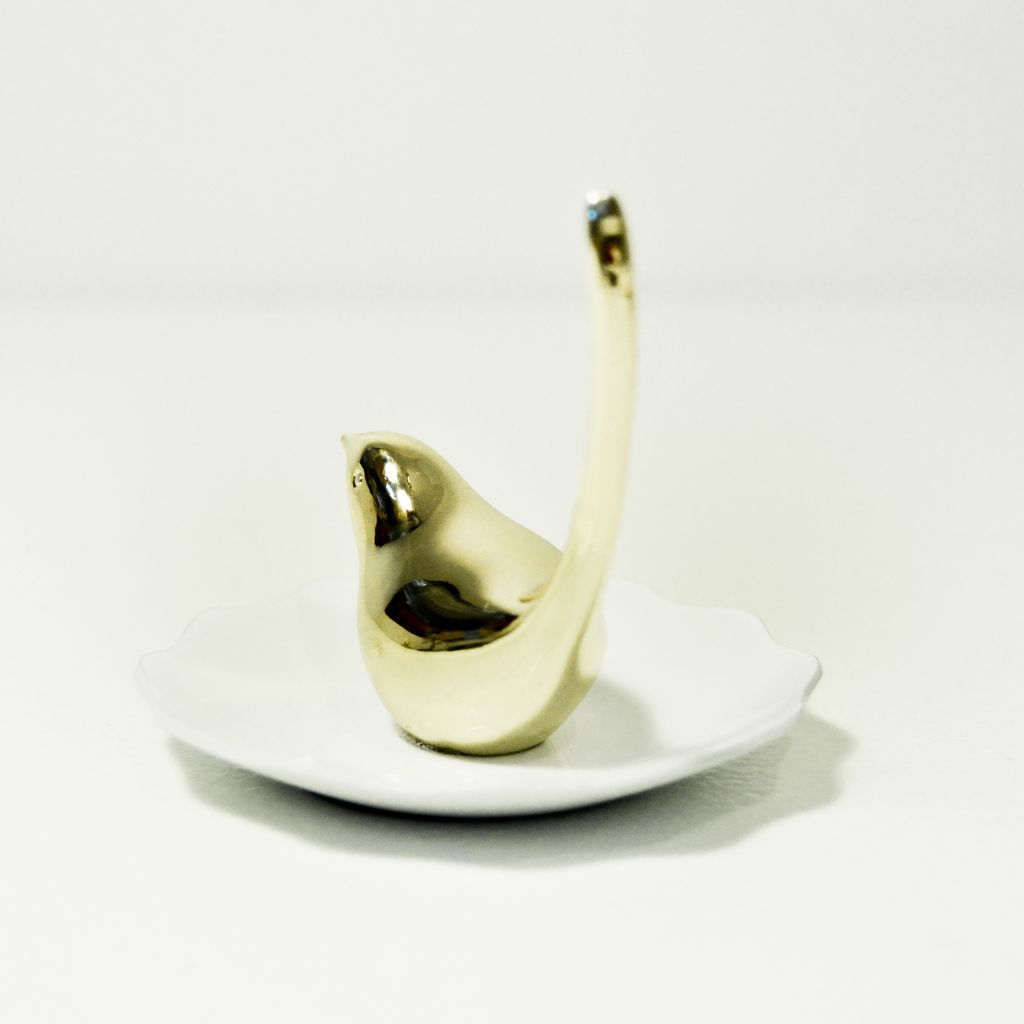 Everyday Gold and White Bird Ring Dish