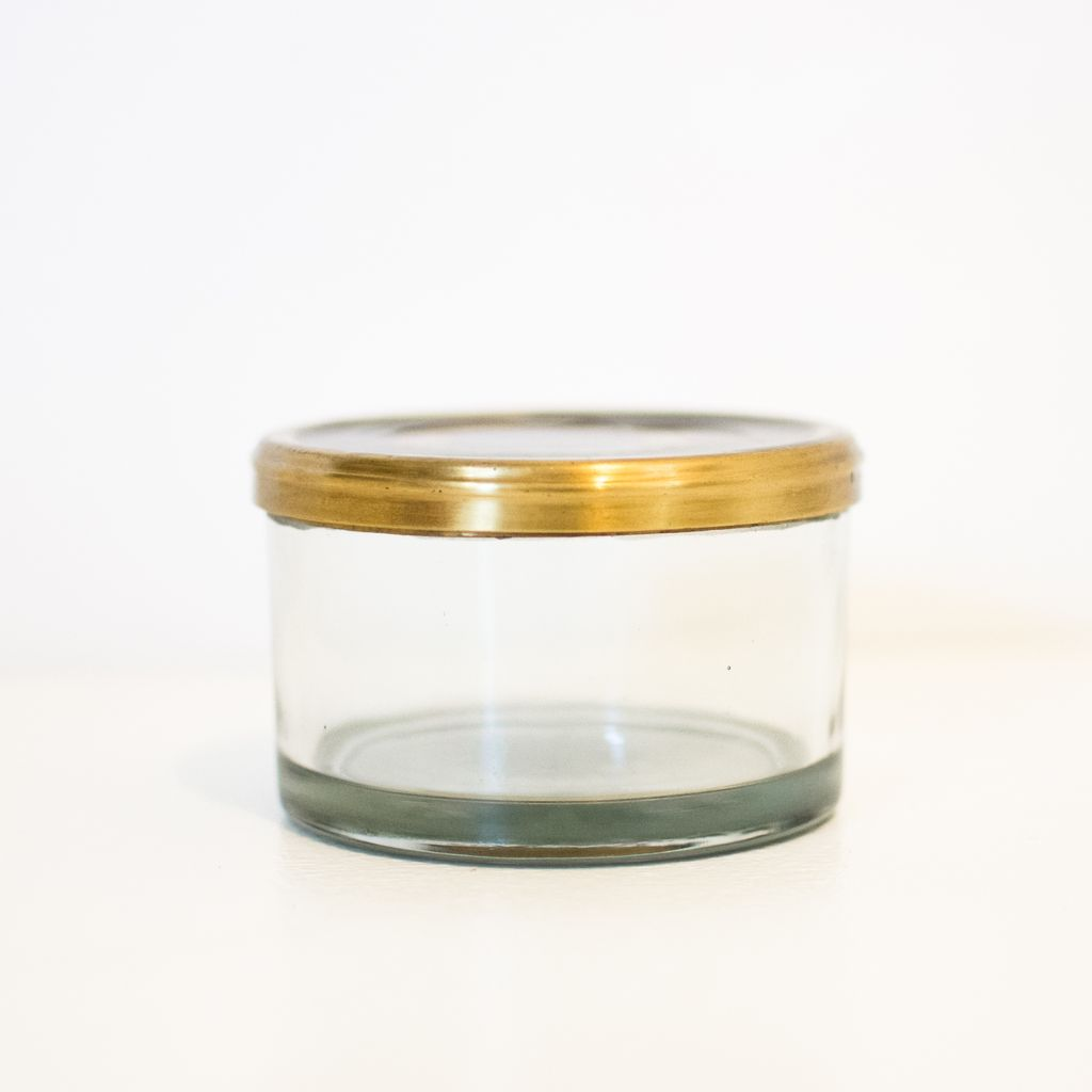 Everyday Round Glass Box with Black Crown Lid