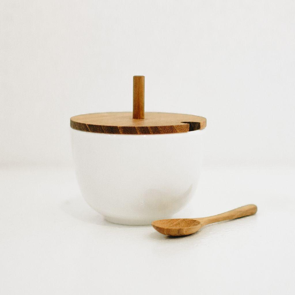 Everyday Porcelain Cellar With Teak Lid