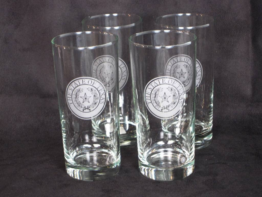 Cooler - 16 oz - Round -  Set of 4 - Texas State Seal