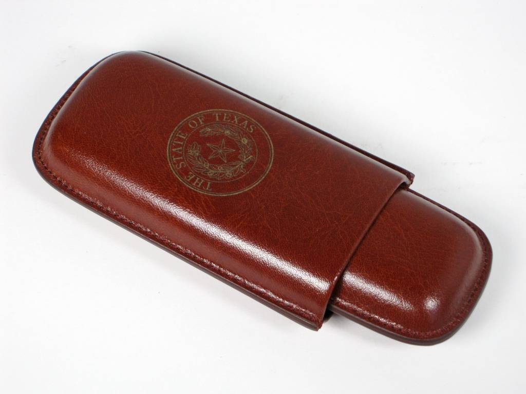 3 Cigar Case - Cognac - Texas State Seal
