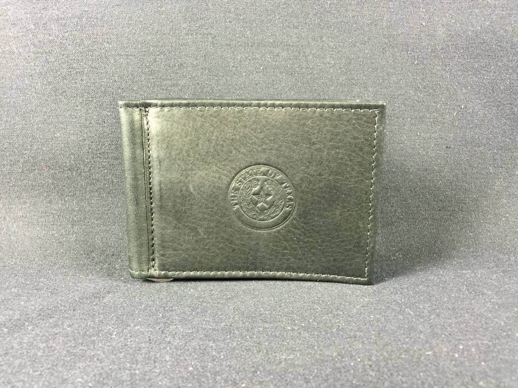 Bi-fold Money clip - BLK - Texas State Seal