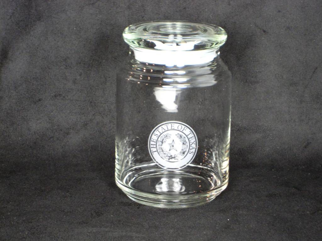 Candy Jar w/ lid - Glass - LG - Texas State Seal