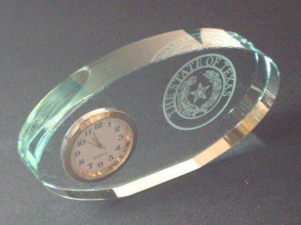 Clock - Jade Glass - Mini Oval - Texas State Seal