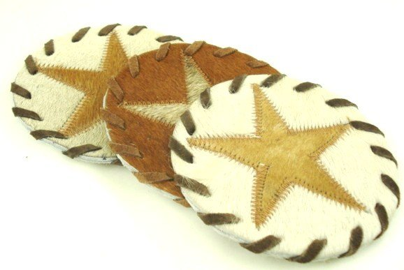 Cowhide Coaster Set - Star