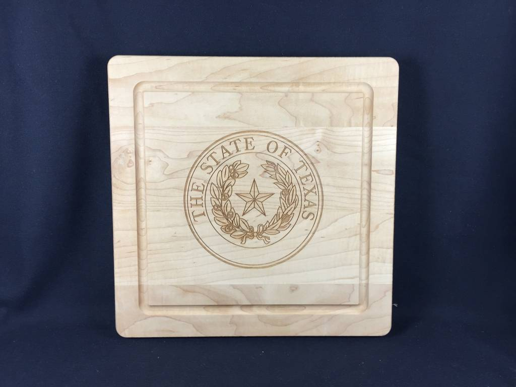 "Texas Cutting Board - Texas State Seal - 12""x12"" - no handles"