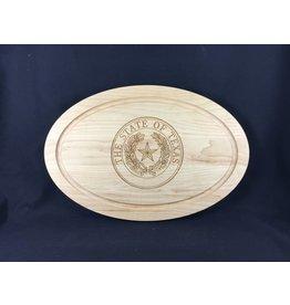 "Texas Cutting Board - Texas State Seal - 12""x18"" oval"