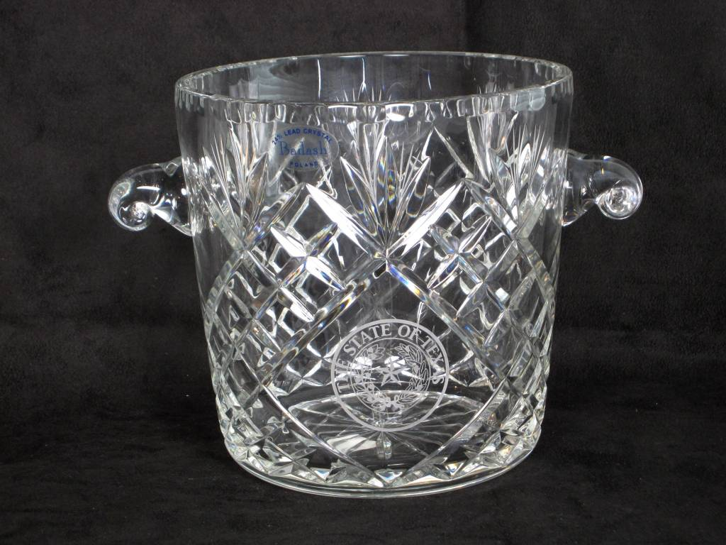 """Crystal Ice Bucket - 7"""" Oxford - Texas State Seal"""