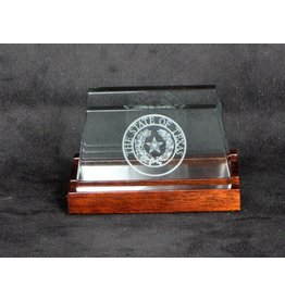 Business Card Holder - Jade Glass - Texas State Seal