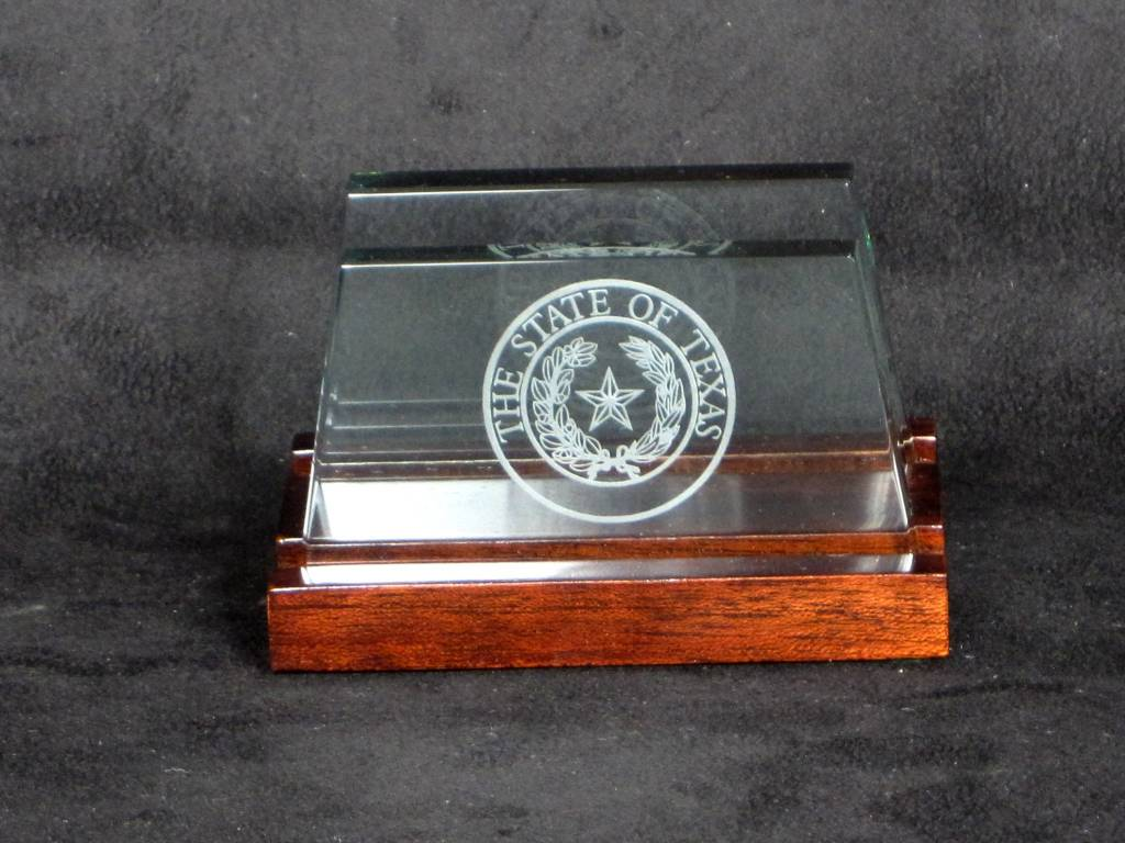 Business Card Holder - Jade Glass - Texas State Seal - Lone Star ...