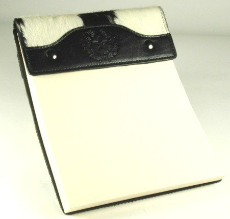 Leather Note Pad - Large - B&W Hide on Hair - Texas State Seal