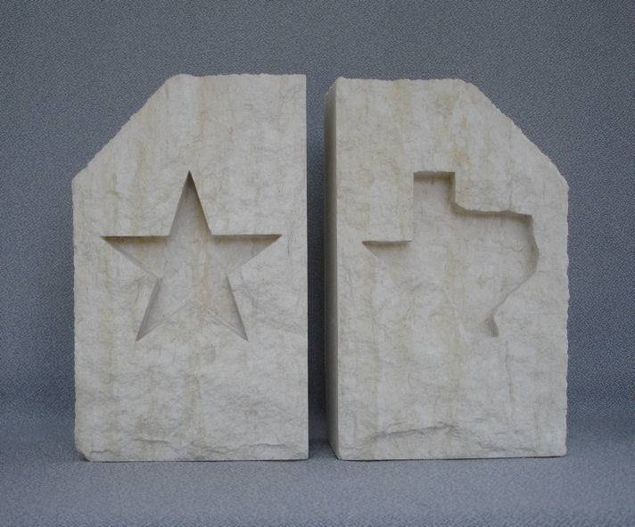 Bookends - Limestone - Star & Texas