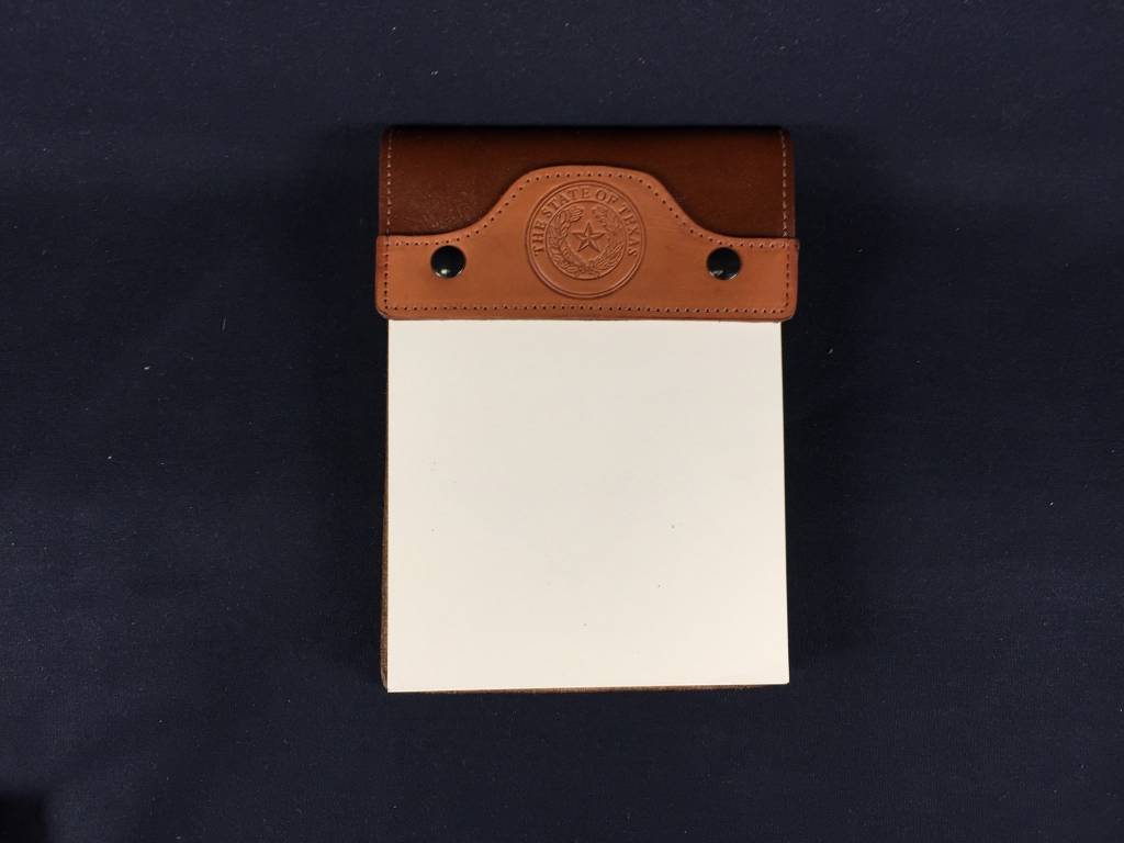 Leather Note Pad - Small - Tan Calf Tan Bridle - Texas State Seal