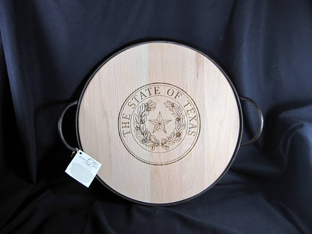 """Texas Cutting Board - Texas State Seal - 18"""" Round Heavy Banded tray w/ handles"""