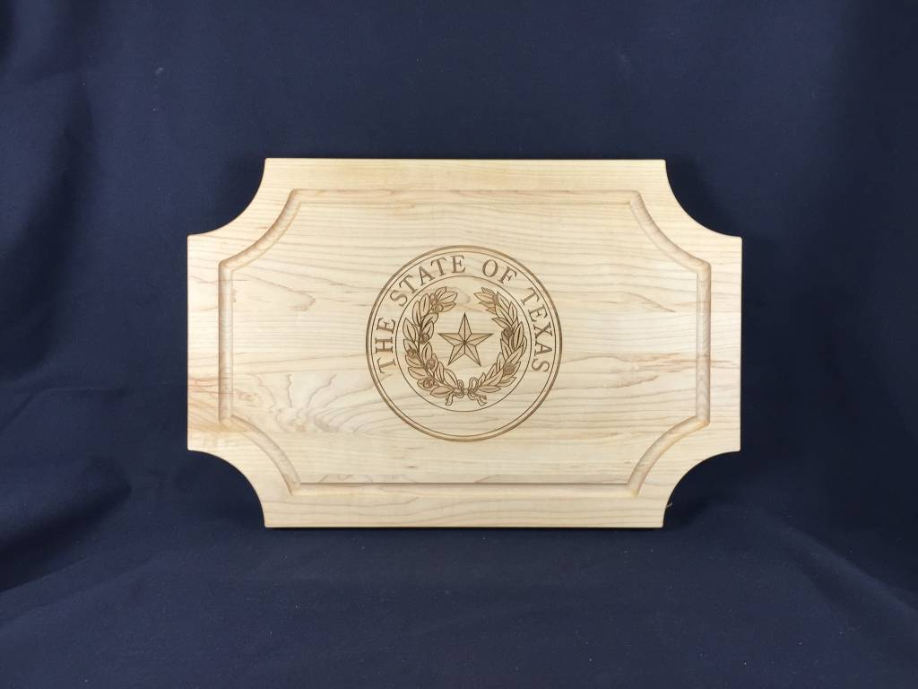 """Texas Cutting Board - Texas State Seal - 18""""x12"""" Scalloped no handle"""