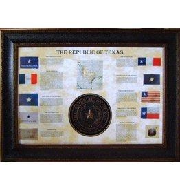Texas Art - Flag Collage w/Texas State Seal