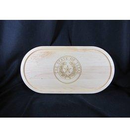 """Texas Cutting Board - Texas State Seal - Oval 20""""x9""""x.75"""""""