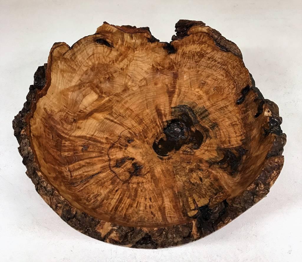 "Ronald Bemmann 9.5"" Hand Turned Ash Burl Bowl with live edges"
