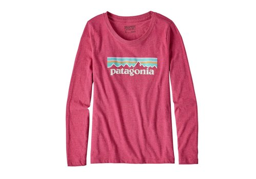 Patagonia Patagonia Girls' Long-Sleeved Pastel P-6 Logo Cotton/Poly T-Shirt