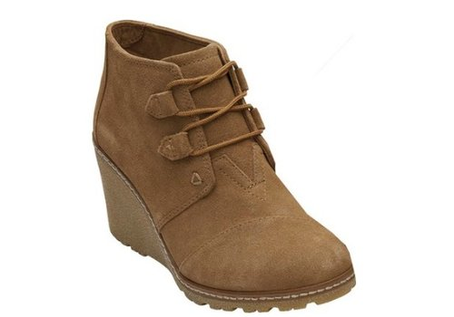 TOMS Suede W Faux Crepe Desert Wedge Bootie