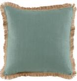 Aquamarine Linen w/Seafoam & Jute Trim Pillow