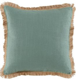 Aquamarine Linen w/Seafoam & Jute Trim Pillow