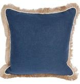 Navy Linen Pillow w/Eggshell Jute Trim