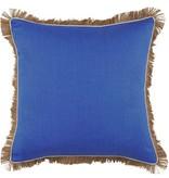 Royal Blue Linen Pillow w/ Jute Fringe