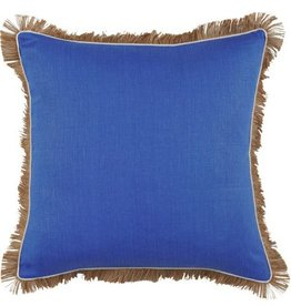 Royal Blue Linen Pillow w/ Jute Fringe