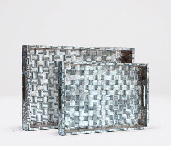 Large Goran Tray (White/Turquoise)