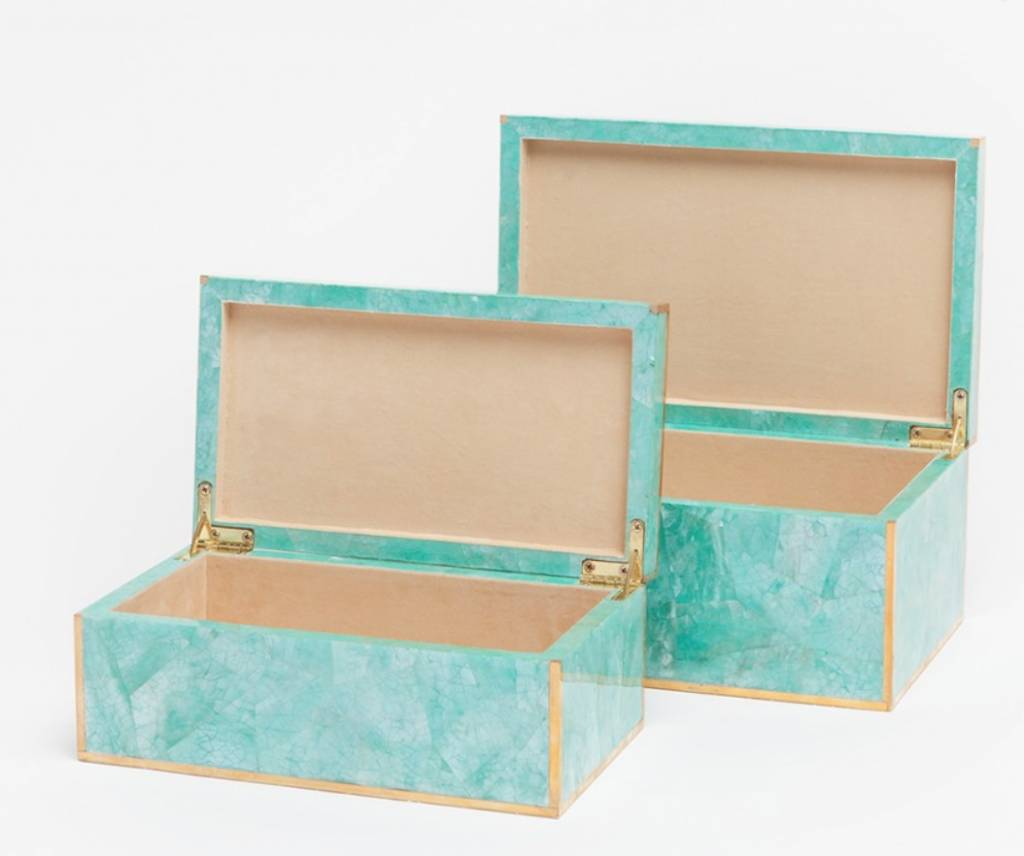 Small Erin Box-Turquoise Clam Shell