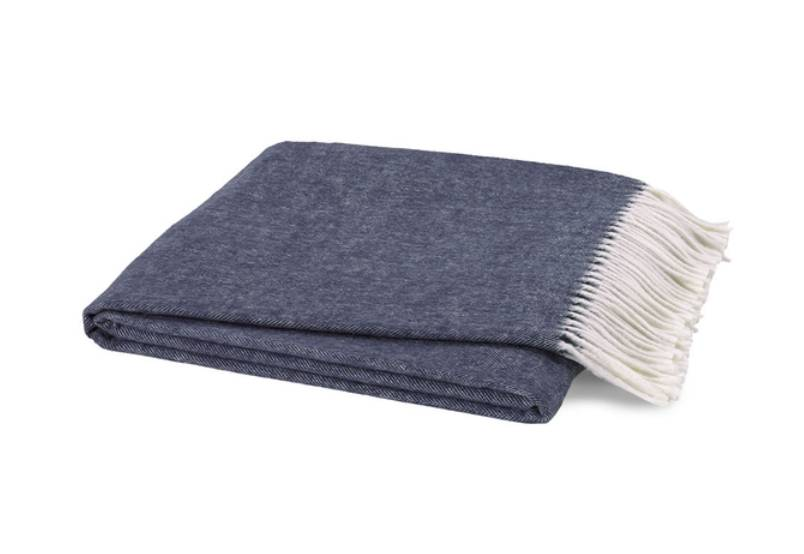 Indigo Italian Herringbone Throw