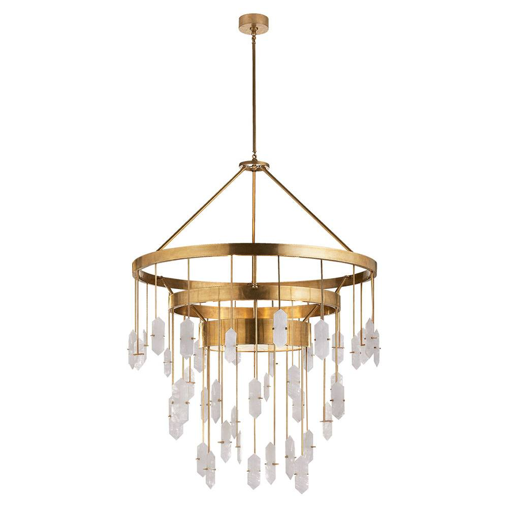 Halcyon Large Chandelier in Antique-Burnished Brass with Quartz
